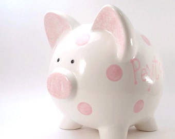 Polka Dot Piggy Bank - Personalized Piggy Bank - Ceramic Piggy Bank - Fun Kids Piggy Bank - with hole or NO hole in bottom - Made in the USA
