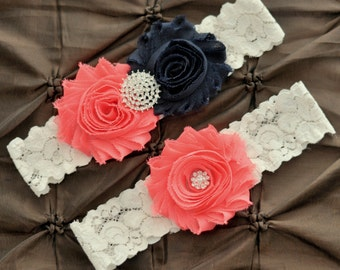 Wedding Garter Set, Bridal Garter Set - Ivory Lace Garter, Keepsake Garter Toss Garter, Navy & Coral Wedding Garter Navy Wedding Garter Belt