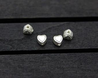 4 Sterling Silver Heart Beads, Double Sided, Silver Heart Spacer Bead,Silver Love Bead,Silver Love Heart Beads