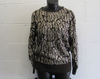Cute Cozy Vinage LEOPARD Print Knit Sweater Pullover