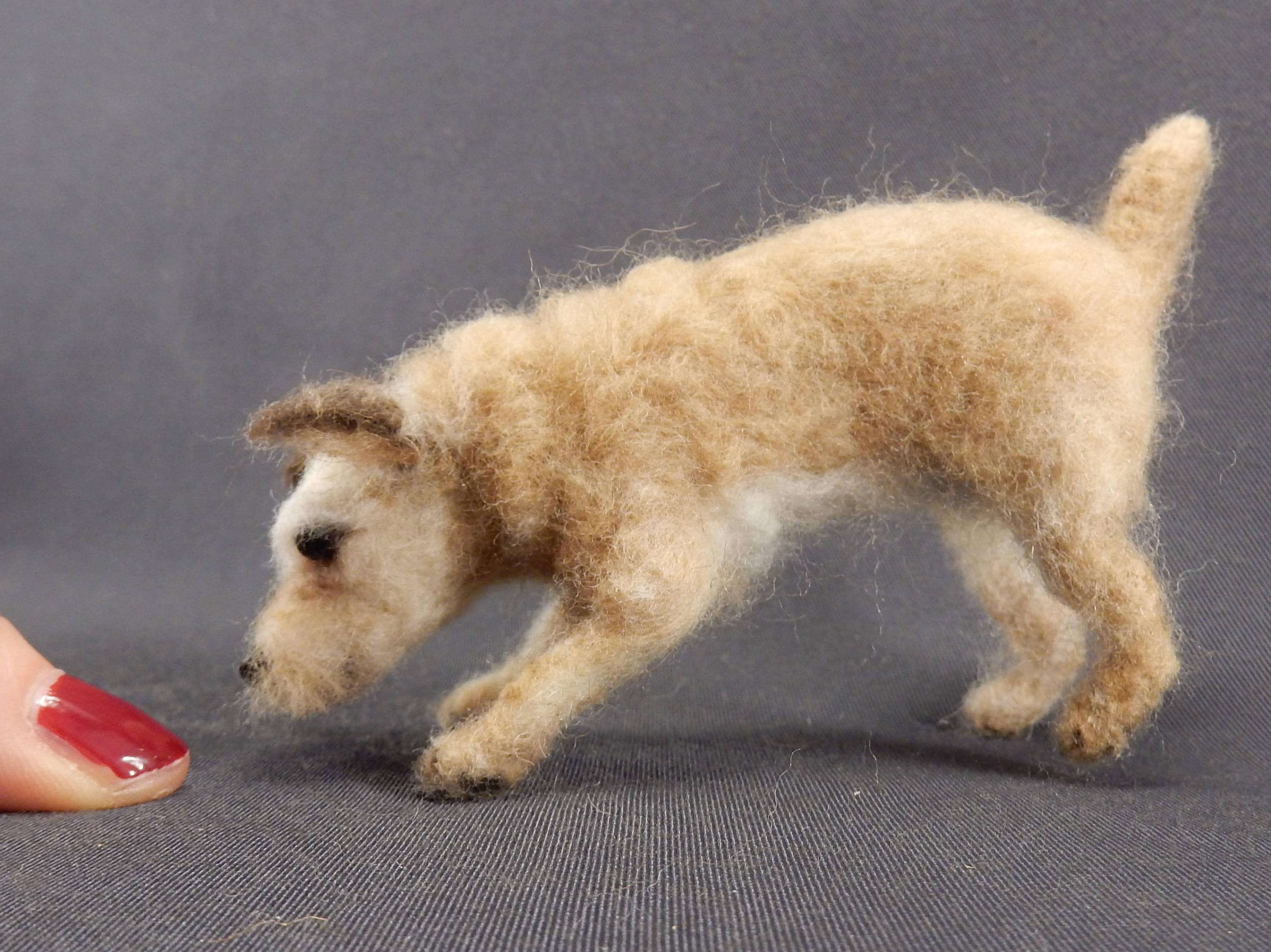 Custom felted dog miniature poseable needle felt dog replica