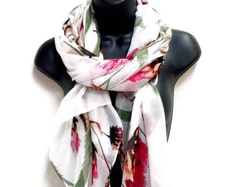 Thistle Flower White Scarf,Spring Summer Scarf,Fashion Accessories,Gifts For Her,Gifts For Mother,Printed Scarf,Women Scarf,Christmas Gifts