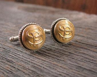 Button Jewelry - Men's Accessories - Railway Memorabilia - Gift for Guy - Vintage Brass SOUTHERN PACIFIC Uniform Cuff Button Cuff Links