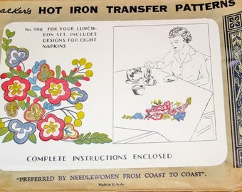 Russian Folk Motifs, Crewel Flower Embroidery for Shawls, Linens, Vintage 1940s Walker's Hot Iron Transfer Craft Pattern 908, Uncut Unused