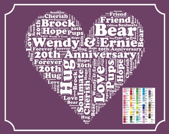 Personalized 20th Anniversary Gifts. Gifts, 20th Anniversary, Gift for Wife, Husband, Her, Him, Mom, Dad Gift 8 x 10
