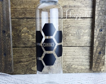 Honeycomb Personalized Glass Water Bottle
