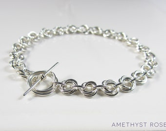 Rose Chain Bracelet ~ Sterling Silver Chainmaille Bracelet ~ Chain Mail Jewellery