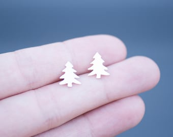Little Pine Tree Stud Earrings Handmade from Sterling Silver
