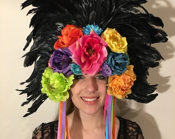 Festival Headpiece- Day of the Dead- Rose Headpiece- Flower Headpiece- Flower Headdress - Flower Headband- Burlesque- Showgirl -