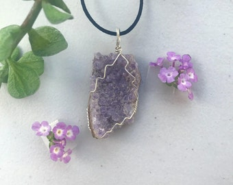 Raw Amethyst Gold-Plated Wire-Wrapped Necklace