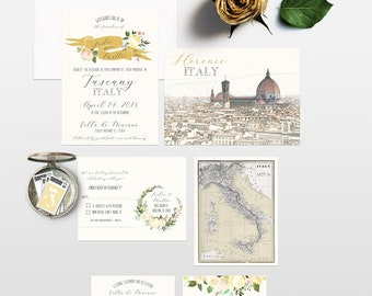 Destination wedding invitation Tuscany Florence Italy Wedding Invitation Suite with florals neutral whites European - Deposit Payment