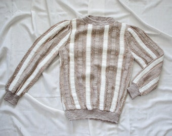 striped sweater | striped vintage sweater | fitted sweater | chunky sweater | 1970s sweater | taupe sweater