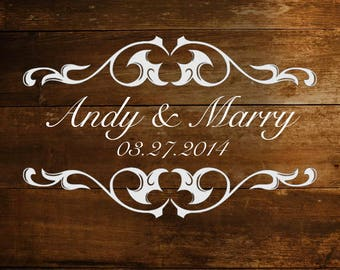 Personalized Wedding Dance Floor Decal Sticker With Names and Date