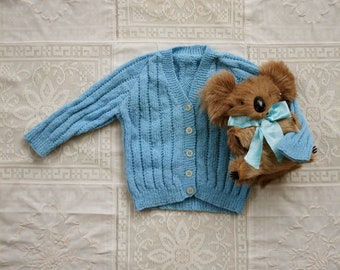 Vintage Look New Knitted Cardigan for Baby in Blue
