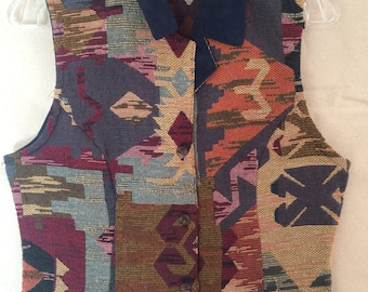 Vintage Western Patterned Vest - Womens Southwestern Vest from Roughrider by Circle T