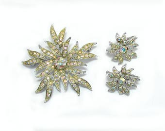 "Sarah Coventry AB rhinestone brooch & clip earrings - 1960s ""Aurora Blaze"" - free US shg"
