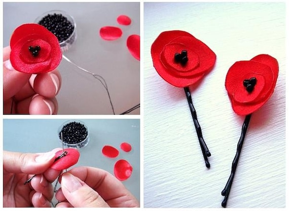 eBook . make your own fabric poppy flower . DIY . PDF Tutorial flower pattern by MGMart . materials not included