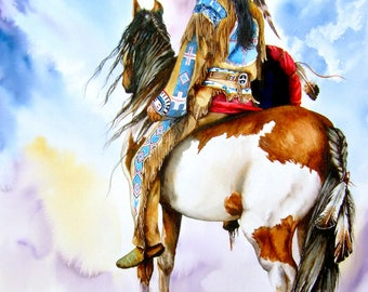 Into The Promised Land - LARGE Native American Indian pony watercolour painting giclee print Peter Williams