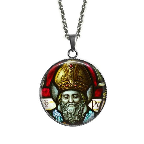 Saint Patrick Necklace - Large Catholic Pendant Stainless Steel - 30mm - St Patrick Pendant