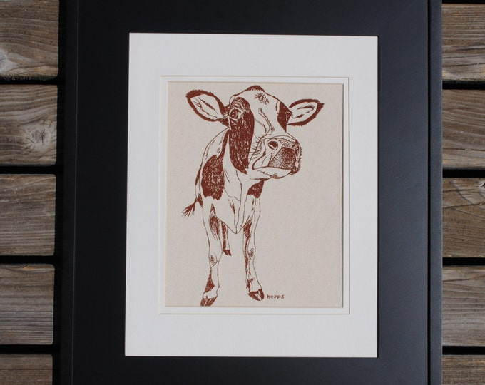 Textile Wall Hanging- Animal Artwork for Nursery - Kids Room Decor - Cow Kitchen Decor - Baby Shower Gift Idea - Gift Ideas for Bridesmaids