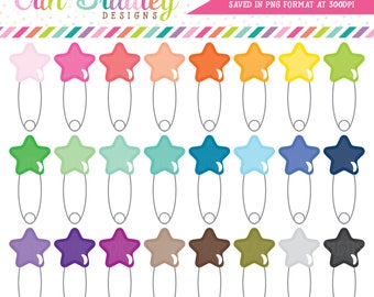 Star Safety Pin Clipart Baby Clip Art Baby Shower Clipart Graphics Personal & Commercial Use OK