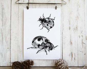 Kids Room Decor, Ladybug Printable, Ladybugs Wall Hanging, Insects Print, Bug Wall Art, Nature Wall Decor, Gift Under 10
