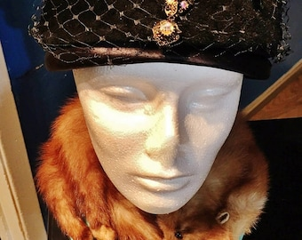 Vintage 1930's Black Plumbloom Velour Merrimac Body Netted Vailed Hat with Stoned Jewel - Made in the USA Union Made