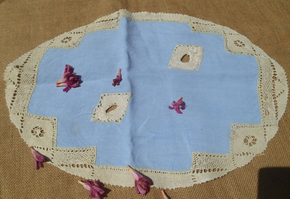 Victorian Blue Linen Doily Handmade French Oval Linen Table Center Sewing Assemblage #sophieladydeparis