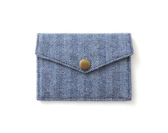 Card Wallet Minimalist Snap Wallet Blue Herringbone