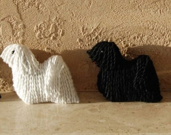 Embroidered felt puli brooch