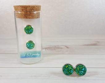 Green Druzy Earrings, Emerald Green Druzy Stud Earrings, Green Druzy Stud, Emerald Green Druzy, Green Faux Druzy, 10mm Emerald Green Druzy