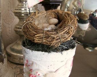Spring  Bird Flower Pot Vintage Peat Pot  Handmade Spring Decoration Altered Peat Pot Vintage Bird Nest Decoration Shabby White Bird Nest