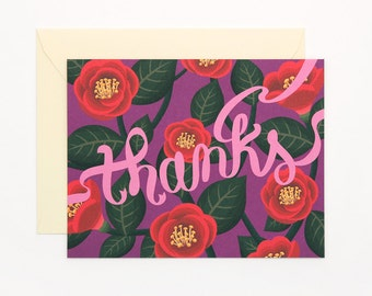 Red Camellia thank you card - thanks