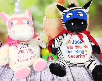 Ring Bearer Flower girl set of Stuffed Plush animals. Will design a Custom duo or customize this design.  Pick from any animals in stock!!!