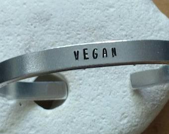 Vegan motto bracelet - adjustable - handstamped