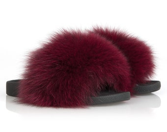 Bordeaux fox fur slides sandals for women. Real fox fur slides. Fur slides. Fur sandals. Slides. Real fur. Real fox fur. Gift for her.
