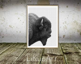 Buffalo Print, Buffalo Wall Art Print, Bison Print, Buffalo Wall Print, Black and White Animal, Nursery Printable, Nursery Wall Art Print.