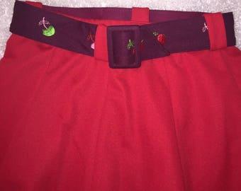 Vintage Cherry Red Pin-Up Skirt & Cherries Belt