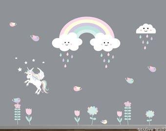 Unicorn Wall Decals-Rainbow Wall Decals-Kids Wall Decor-Flower,Rainbow,Unicorn Wall Decals-Girls Wall Decal-Nursery Wall Decals