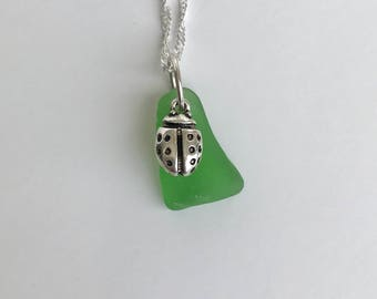 Genuine Green Sea Glass & Ladybug Necklace