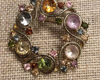 Vintage Monet Gold Toned Brooch with Rainbow coloured Stones