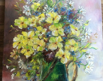 Flowers, still life, yellow flowers in green vase, oil, impressionist 40X30cm (15, 74x11,81)