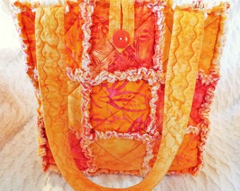 Orange Batik Rag Tote - Rag Quilt Tote - Batik Tote - Orange and Yellow Tote - Mother's Day Gift - Orange Rag Tote - Gift for Her
