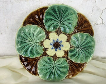 French Plate Majolica Barbotine Faience Flower Leafs Marked Decorative