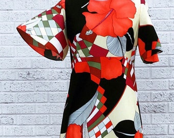 Vintage 60s 70s Mod Red White Black Maxi Dress with Poppies  medium large