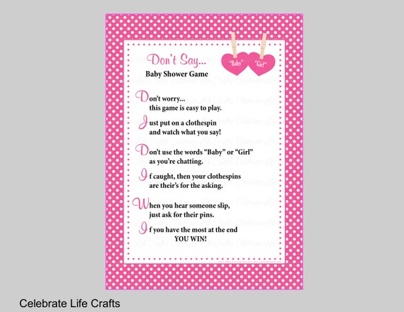 Dont say baby or girl baby shower game printable solutioingenieria Gallery