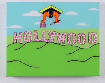 I Love Hollywood - acrylic on canvas painting - Pop Art, Contemporary Art, Sci-fi, Los Angeles, Mid Century Modern, Googie, Pop Surreal