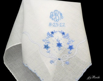 Wedding handkerchief Something blue for bride Monogram handkerchief for wedding day jfyBride