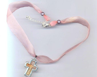 Vintage Designer Silver Plated Cross . Pink and Silver Cross, Christmas Cross, Easter Cross . Christian Faith . Holly Cross . Organza Choker