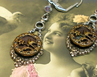 Antique BUTTON earrings, Victorian BIRDS on silver. One of a kind button jewellery.